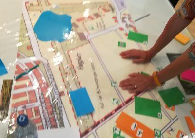 """Kartentisch des Workshops """"Sport treiben!"""""""