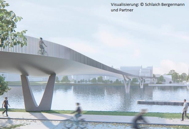 Die Fahrradbrücke über den Neckar